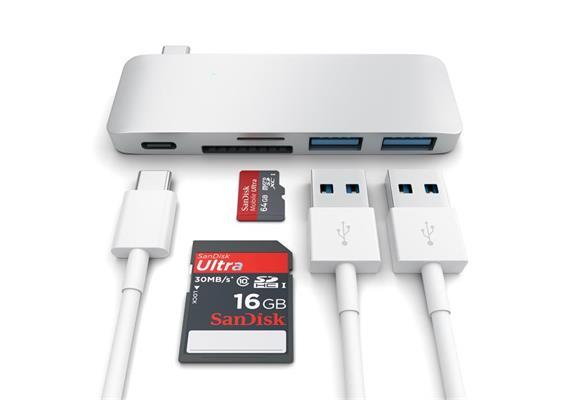 "Satechi USB-C Combo Hub mit Ladefunktionalität- Silber MB 12"""